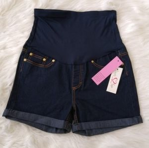 Times 2 Maternity Over-belly Cuffed Denim Shorts